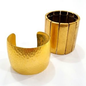 Bundle Pair of Gold Toned Bracelets Cuff Chico's